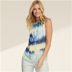 Taifun Watercolour Sleeveless Blouse Blue