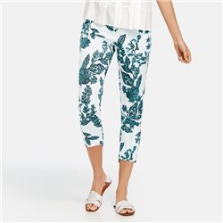 Taifun Floral Print Crop Trousers Off White