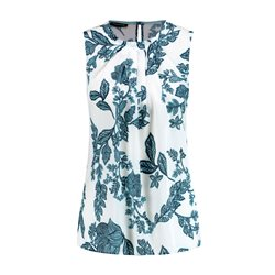 Taifun Floral Print Sleeveless Blouse Off White
