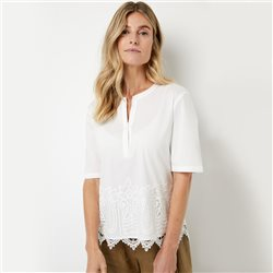 Gerry Weber Blouse With Lace Trim Off White