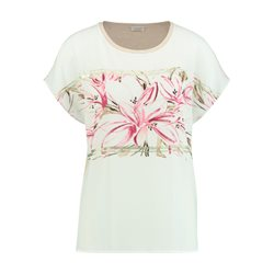 Gerry Weber Top With Floral Panel And Shimmer Detail Pink