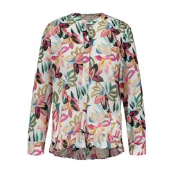 Gerry Weber Floral Print Blouse With Frill Hem Pink