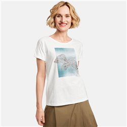 Gerry Weber Top With Leaf Front Print White