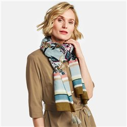 Gerry Weber Patterned Scarf With Tassles Blue