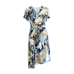 Gerry Weber Floral Print V-Neck Dress With Tie Navy