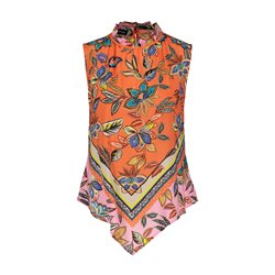 Taifun Floral Print Sleevless Top Orange