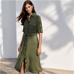 Taifun Shirt Dress With Tie Belt Khaki