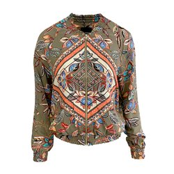 Taifun Flower Graphic Print Zipped Jacket Khaki