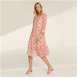 Taifun Flower Print Bell Cuff Sleeve Dress Pink