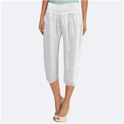 Bicalla Linen Cropped Trouser White