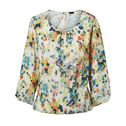 Lebek Watercolour Print Blouse Yellow