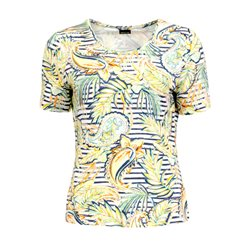 Lebek Leaf And Stripe Print Top Yellow
