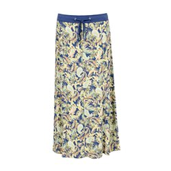 Lebek Leaf Print Skirt Blue