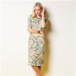 Lebek Leaf And Stripe Print Dress Yellow