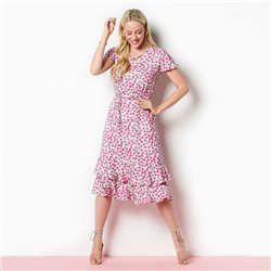 Lebek Circle Print Dress With Frill Hem Pink