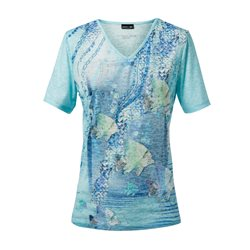 Lebek V Neck Top With Sea Print Blue