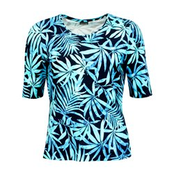 Lebek Leaf Print Top Navy