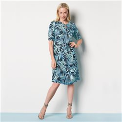 Lebek Leaf Print Dress With Keyhole Neckline Navy