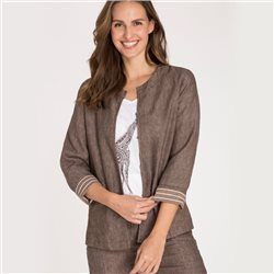 Olsen Linen Jacket With Pockets On Front Brown