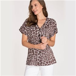 Olsen Short Sleeve Blouse With Giraffe Print Brown