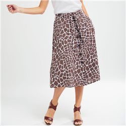 Olsen A Line Animal Print Skirt Brown