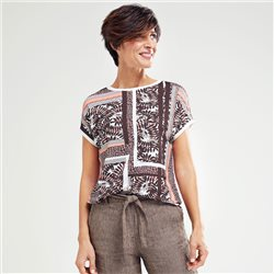 Olsen Mixed Print Top Brown