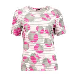 Lebek Circle And Stripe Print Top Pink