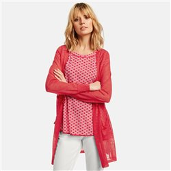 Taifun Cardigan With Drawstring Waist Coral