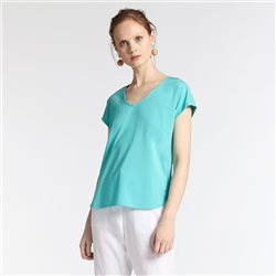 Sandwich V Neck Top Aqua