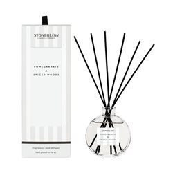 Stoneglow Modern Classics Pomegranate & Spiced Woods Reed Diffuser White
