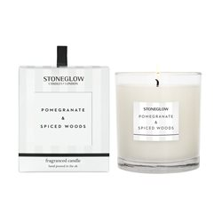 Stoneglow Modern Classics Pomegranate & Spiced Woods Candle White