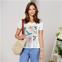 Bicalla Bird Print Top White