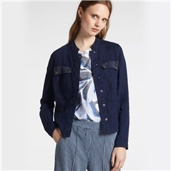 Sandwich Linen Jacket With Mesh Details Navy