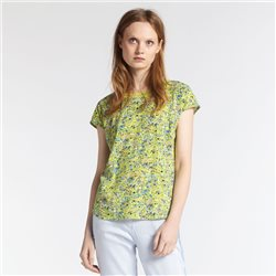 Sandwich T Shirt With Colourful Floral Print Green