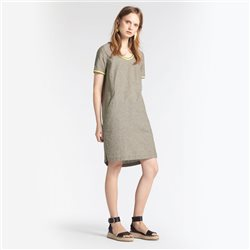 Sandwich Linen Dress With Elastic Striped Piping Green