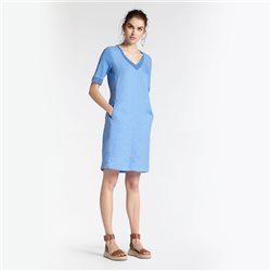 Sandwich Linen Dress With Mesh Details Blue