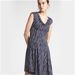 Sandwich Dot Dress With Waterfall Neckline Navy