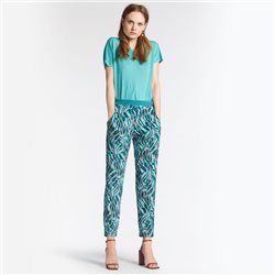 Sandwich Printed Trousers Aqua