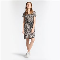 Sandwich Printed dress with beige tie belt