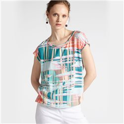 Sandwich Graphic Print Top With Ribbed Neckline Coral