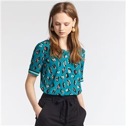 Sandwich Woven Print Top Green