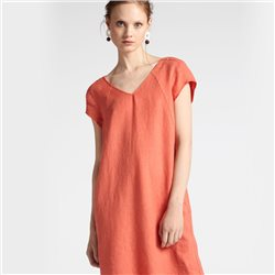 Sandwich V Neck Linen Dress Coral