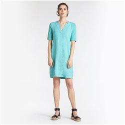 Sandwich V Neck Linen Dress Green