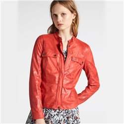 Sandwich Biker Jacket With Round Collar Coral