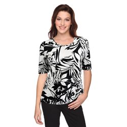 Lebek Leaf Print Top Black