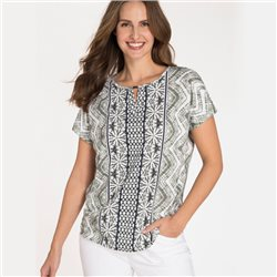 Olsen Round Neck Shirt With Batik Print Green