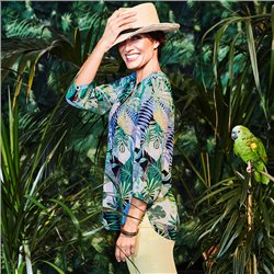 Olsen Tropical Flower Print Blouse Green