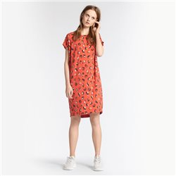 Sandwich Printed Dress Coral