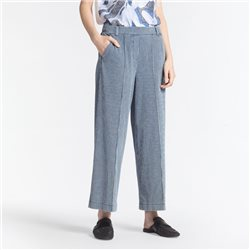 Sandwich Wide Leg Trousers With Stripes Blue