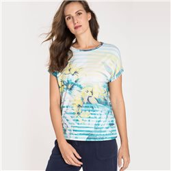 Olsen Round Neck Top With Flowers And Stripes Aqua